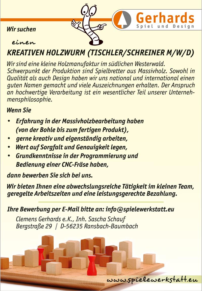 Stellenangebot für einen kreativen Holzwurm